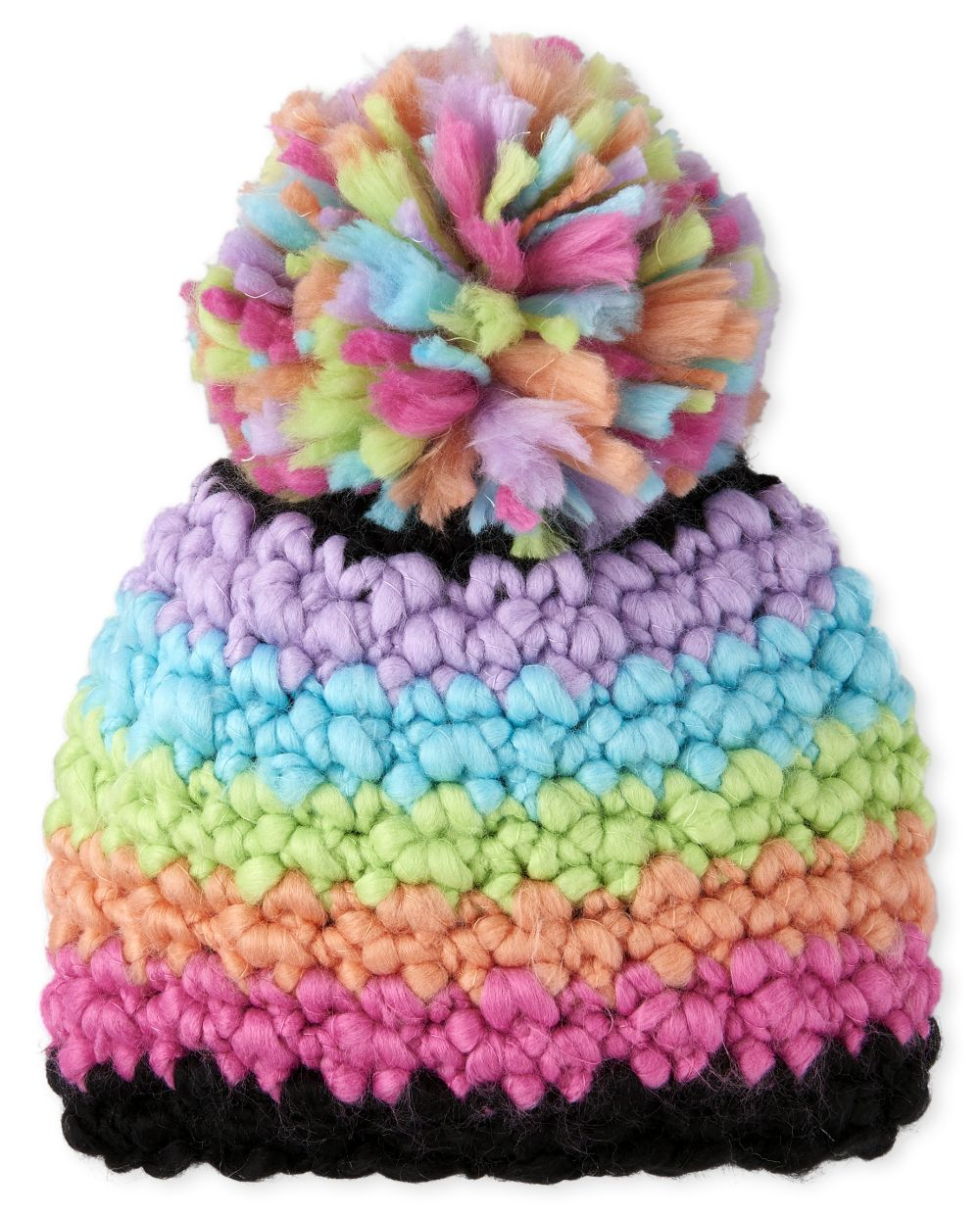 Girls Metallic Rainbow Striped Pom Pom Beanie