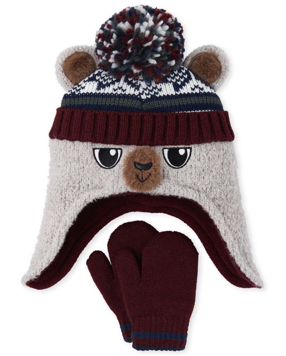 Toddler Boys Bear Hat And Mittens Set