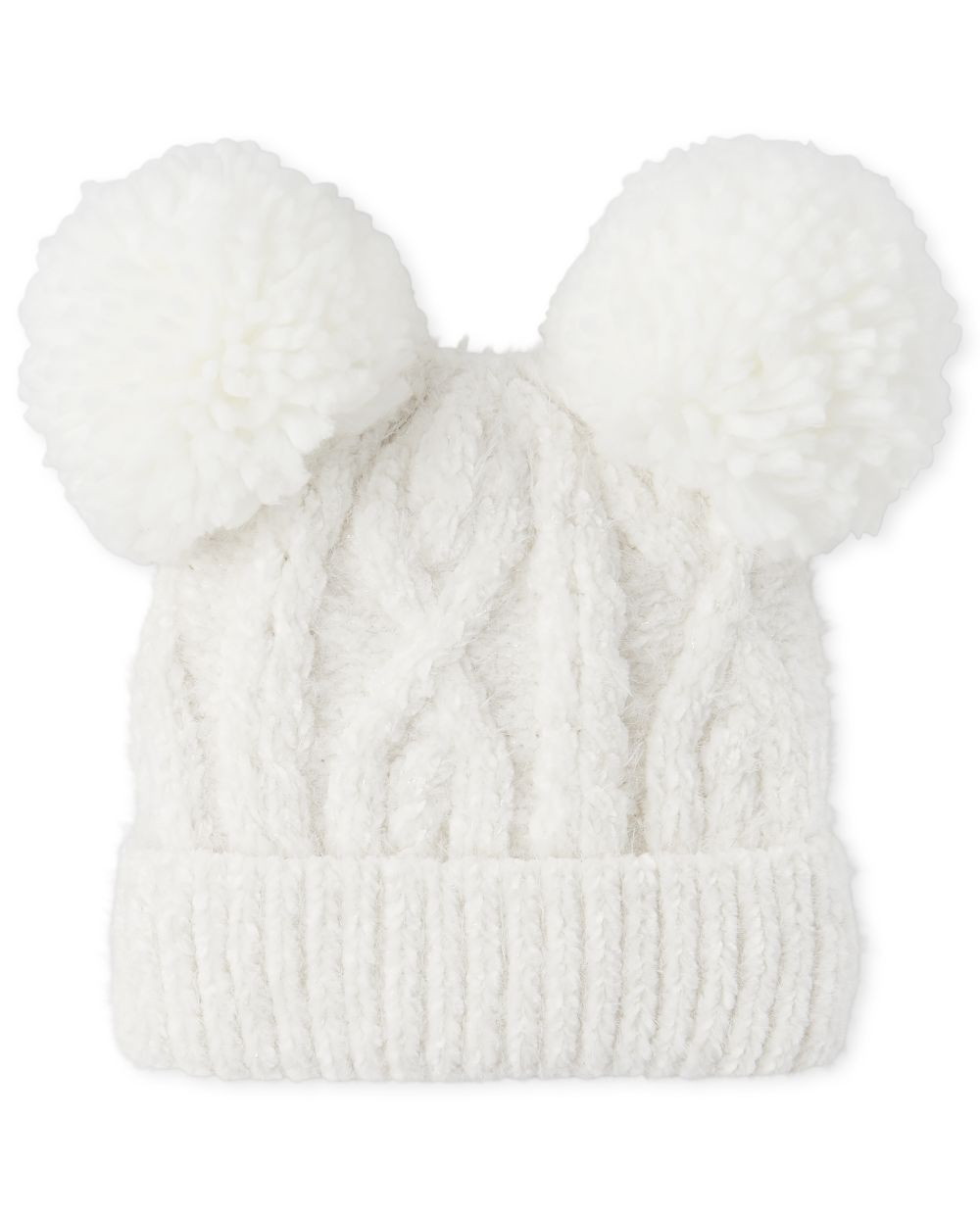 Girls Cable Knit Chenille Pom Pom Beanie