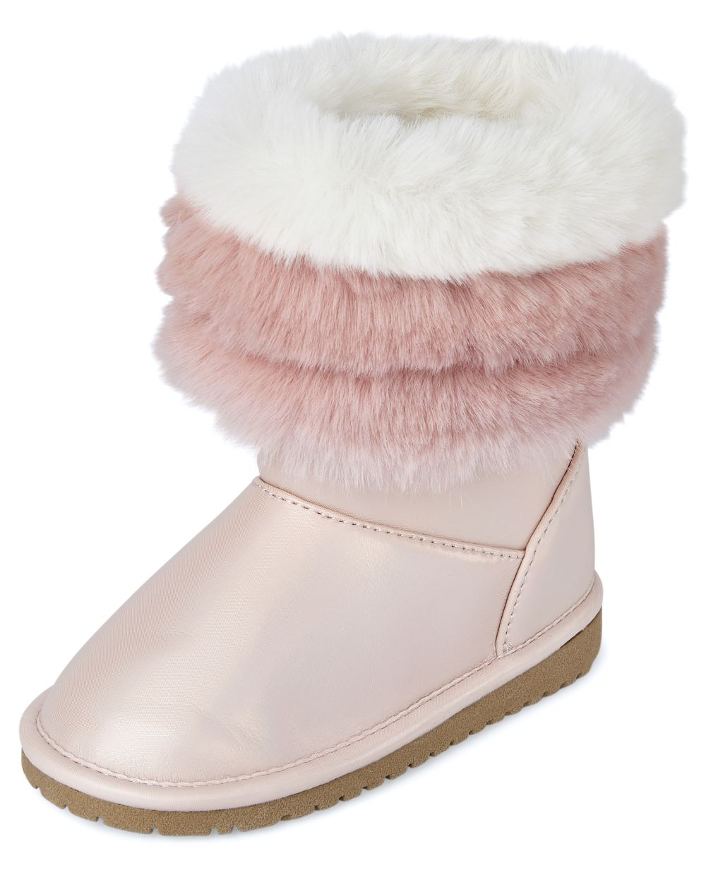 Toddler Girls Shimmer Faux Fur Cuff Boots