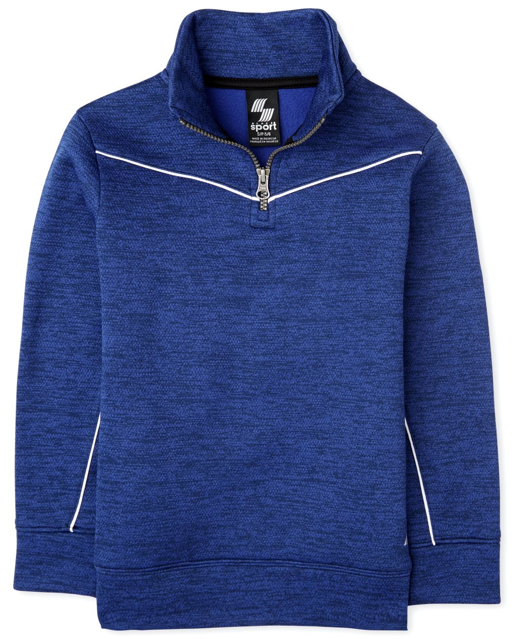 Boys Active Mesh Striped Half Zip Mock Neck Pullover