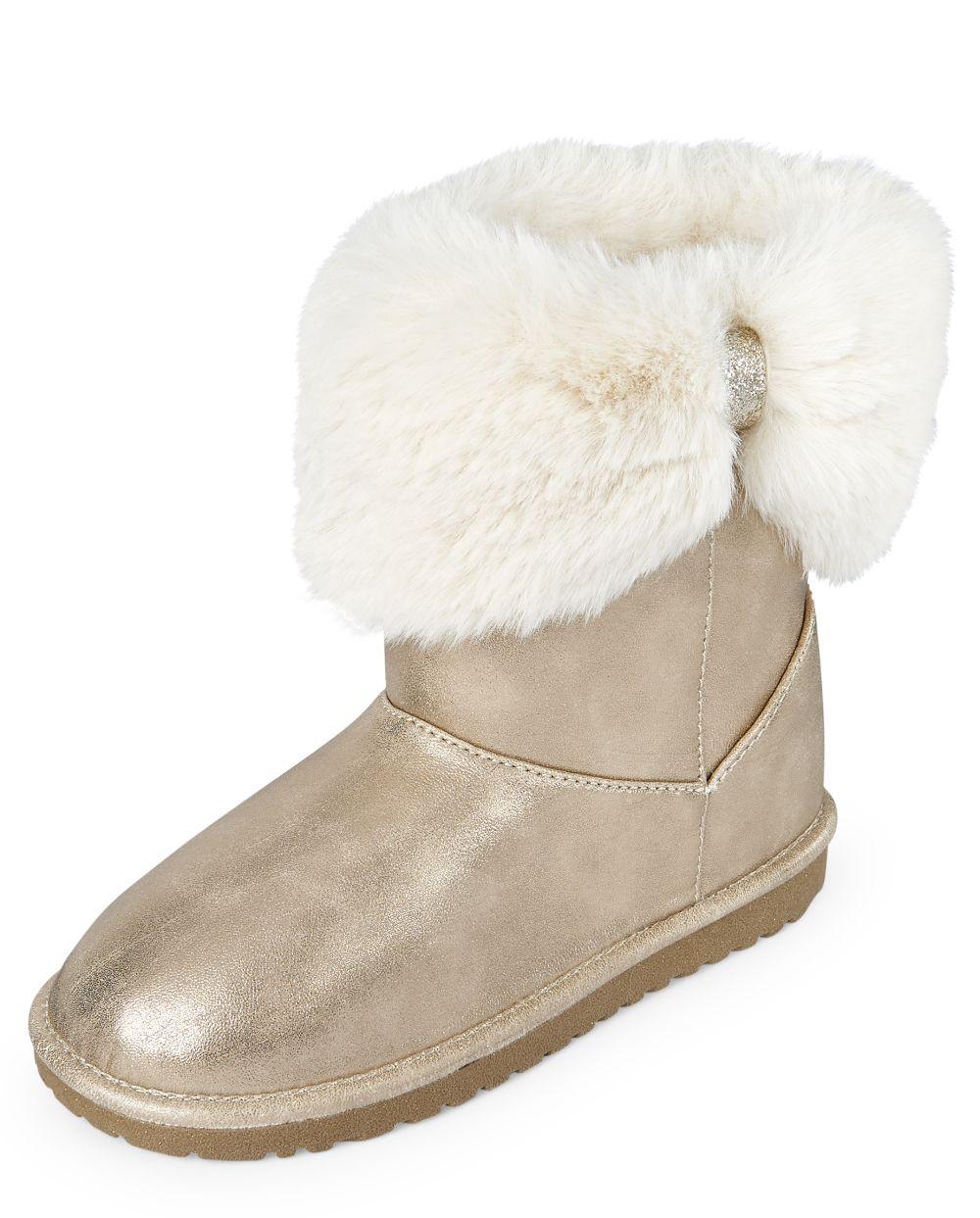 Girls Metallic Faux Fur Bow Boots
