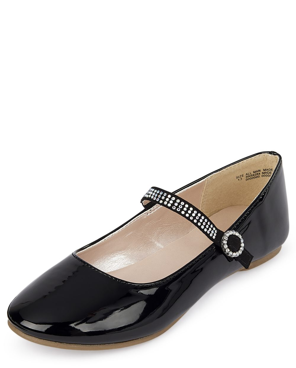 Girls Jeweled Faux Patent Leather Ballet Flats