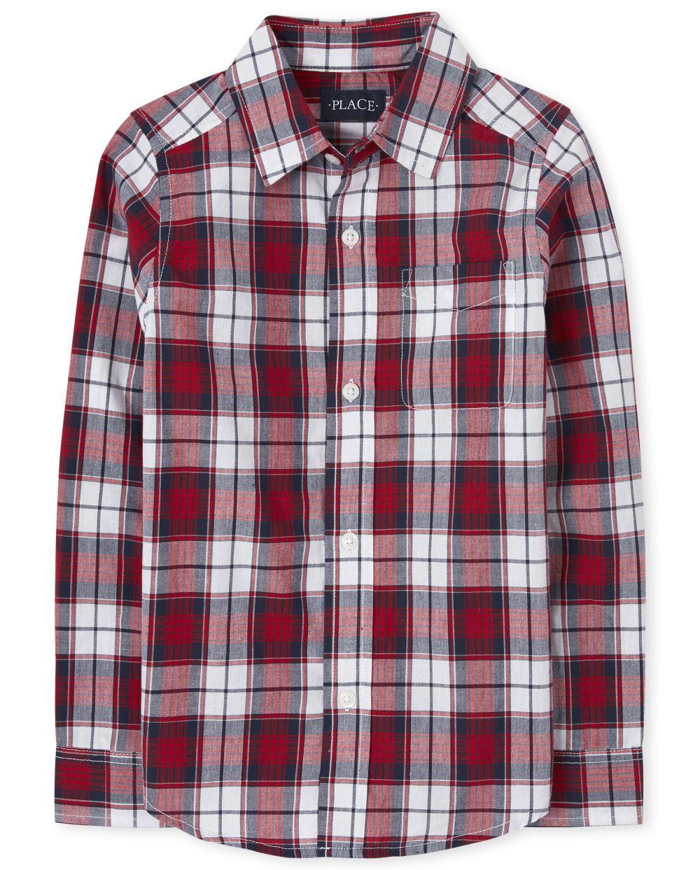 Boys Plaid Poplin Button Down Shirt