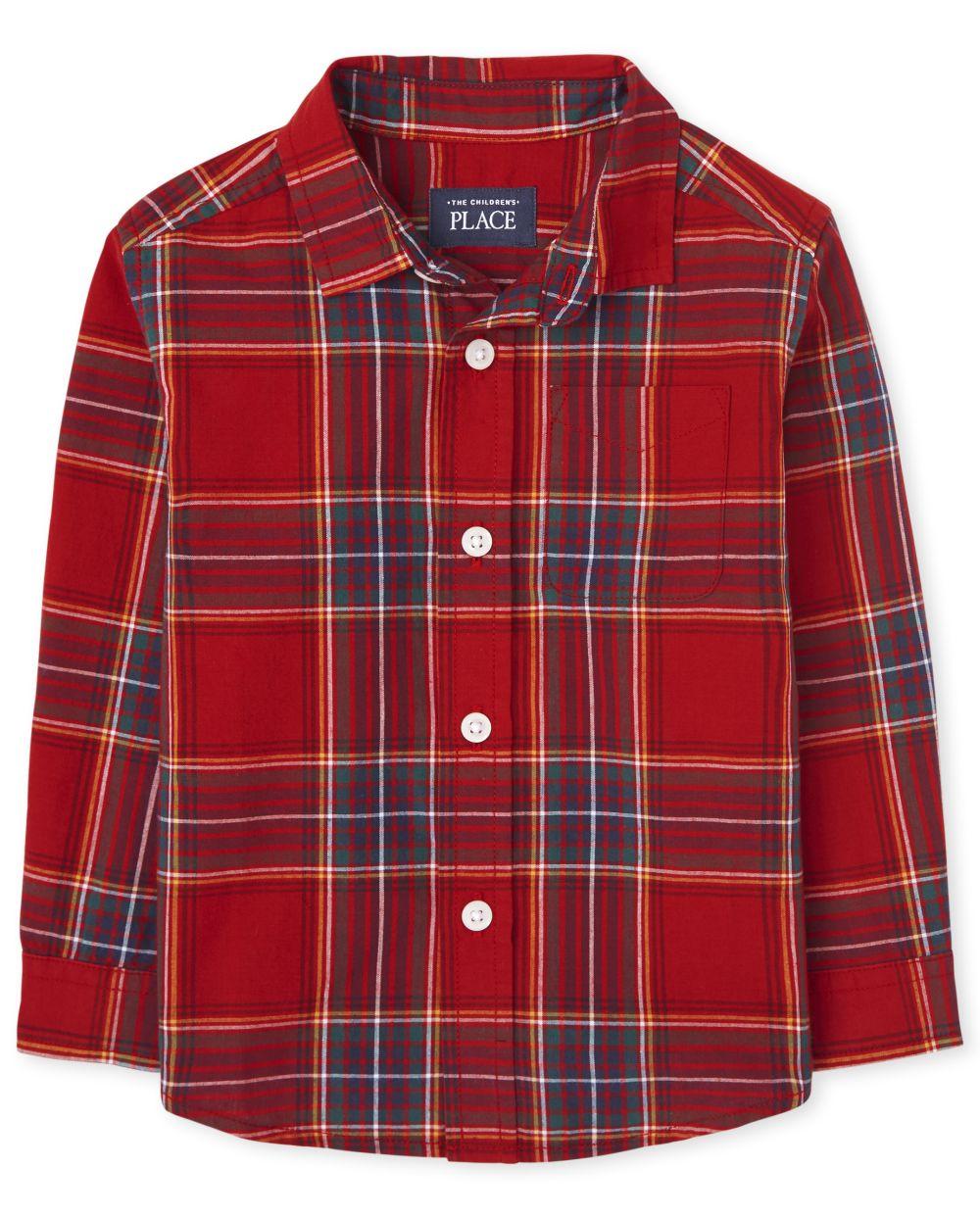 Toddler Boys Matching Family Plaid Poplin Button Down Shirt