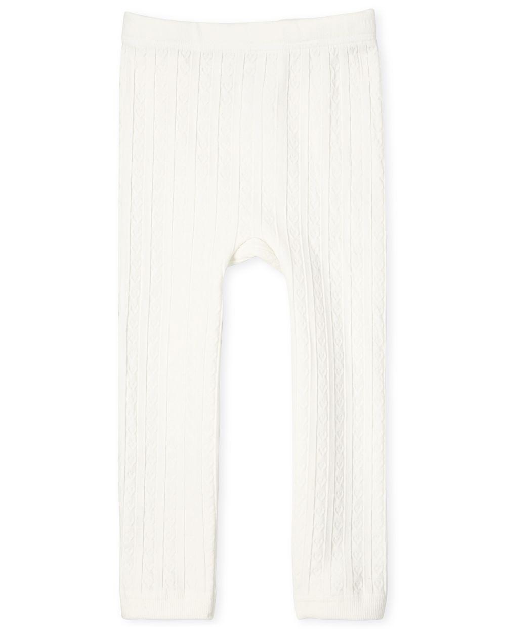 Leggings con forro polar de punto trenzado para niñas pequeñas