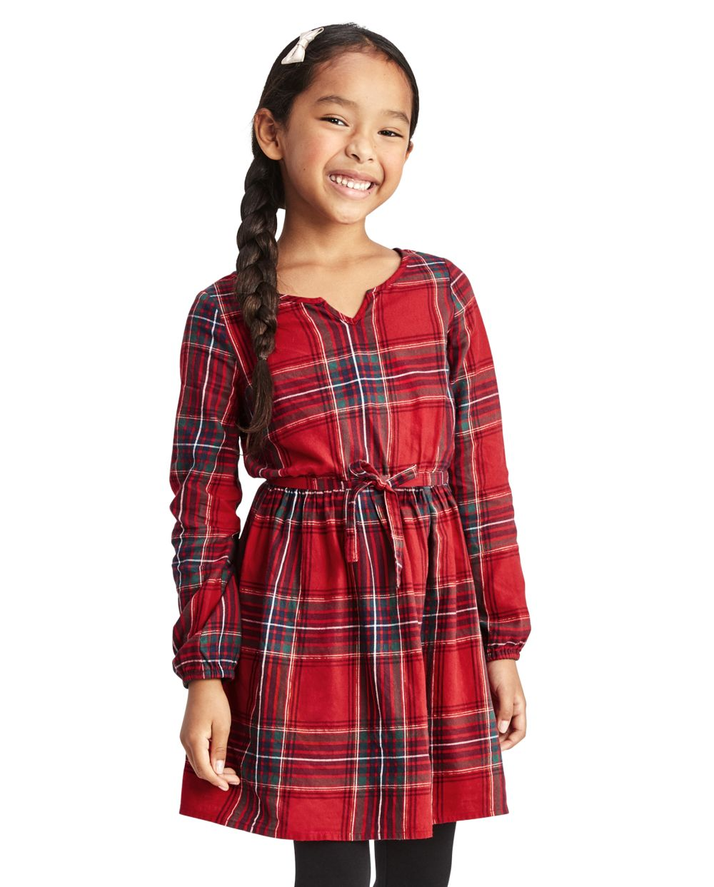 Girls Matching Family Plaid Peasant Dress