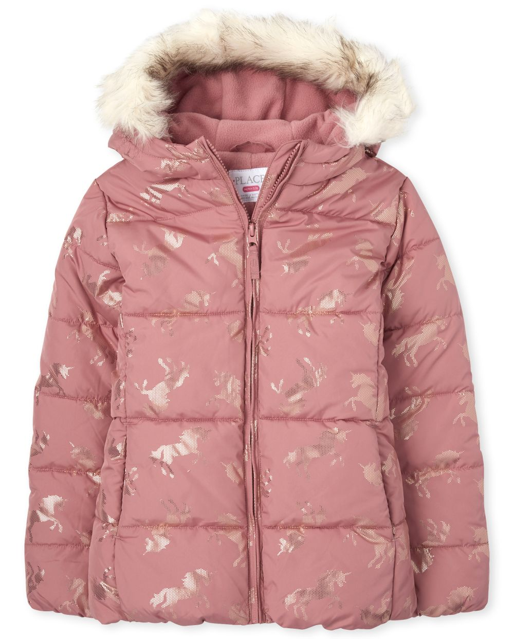 Girls Foil Unicorn Puffer Jacket