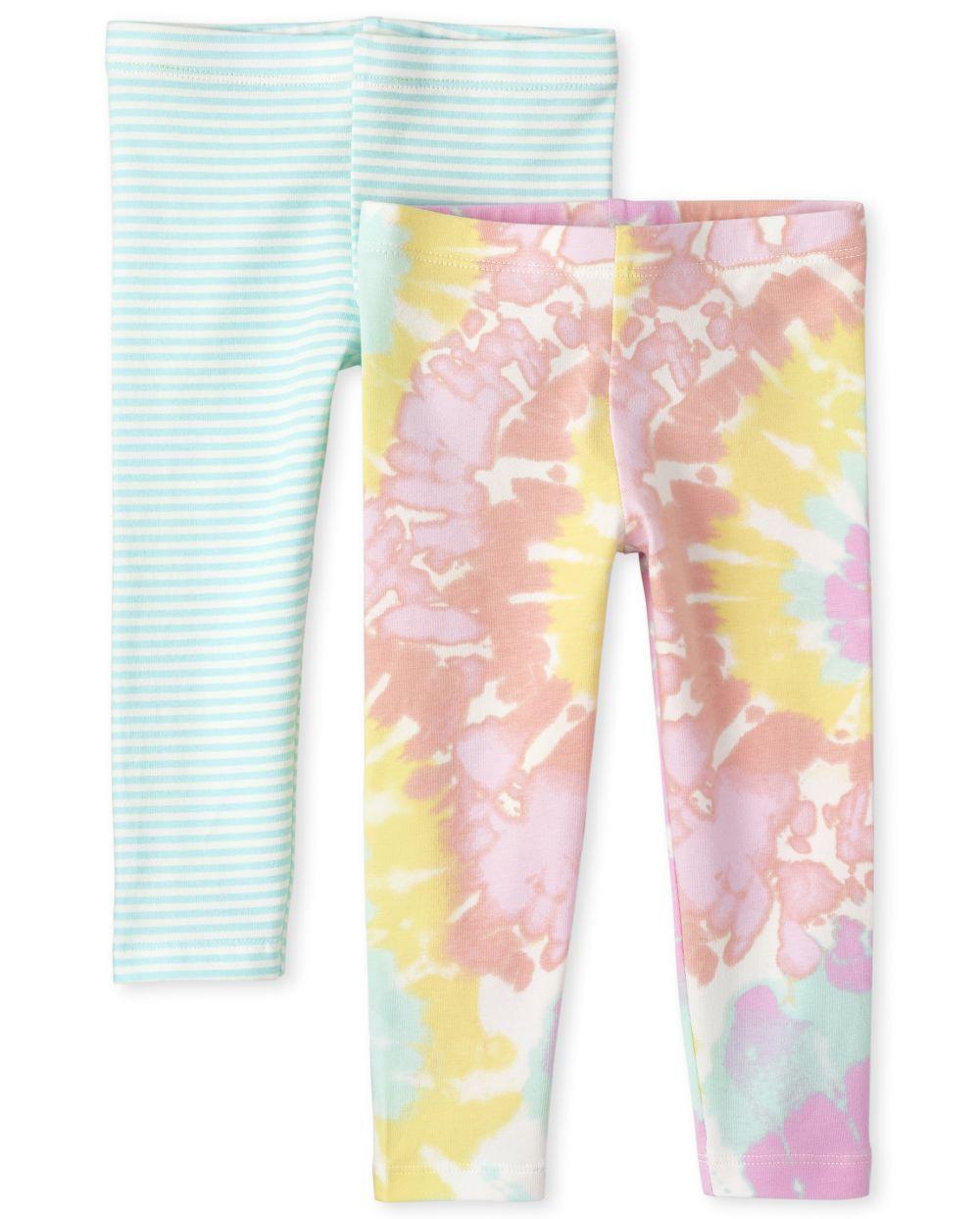 Paquete de 2 leggings con efecto tie dye para niñas pequeñas