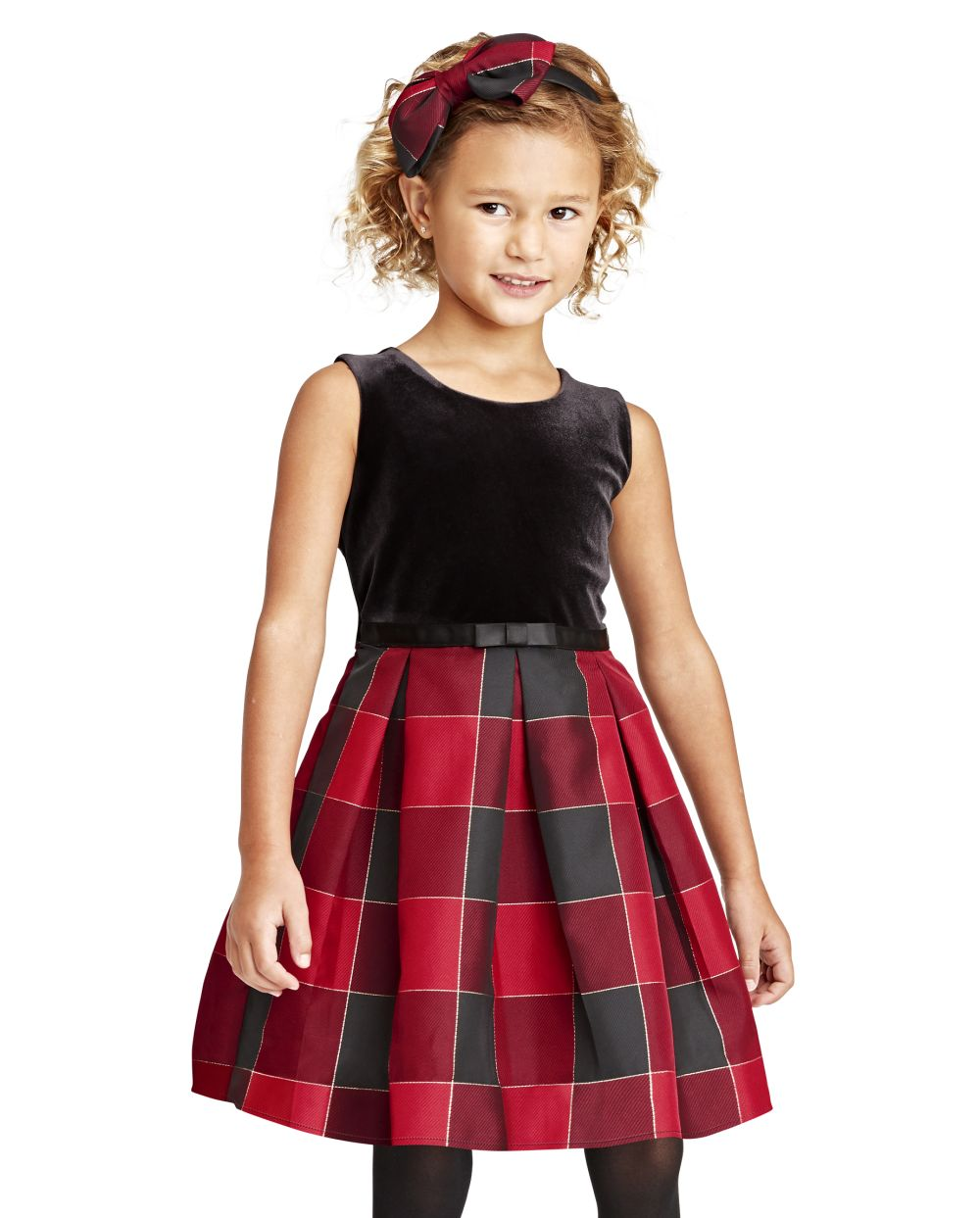 Toddler Girls Mommy And Me Velour Buffalo Plaid Matching Knit To Woven Dress