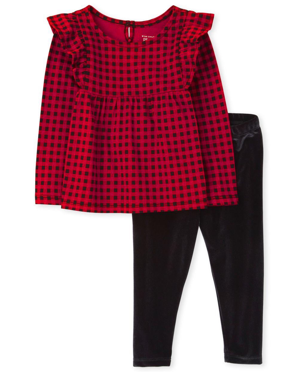 Toddler Girls Buffalo Plaid Outfit Set