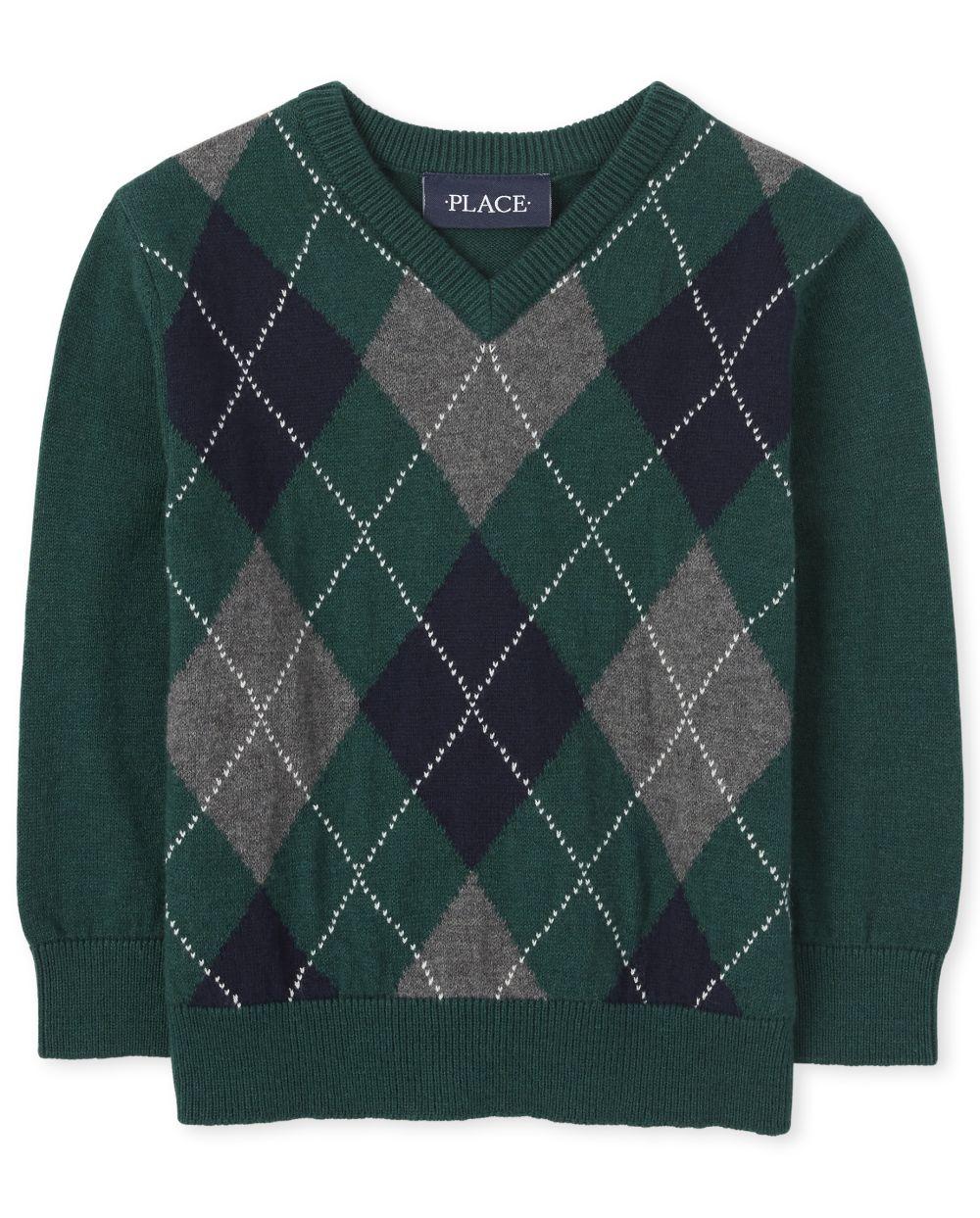 Toddler Boys Argyle V Neck Sweater
