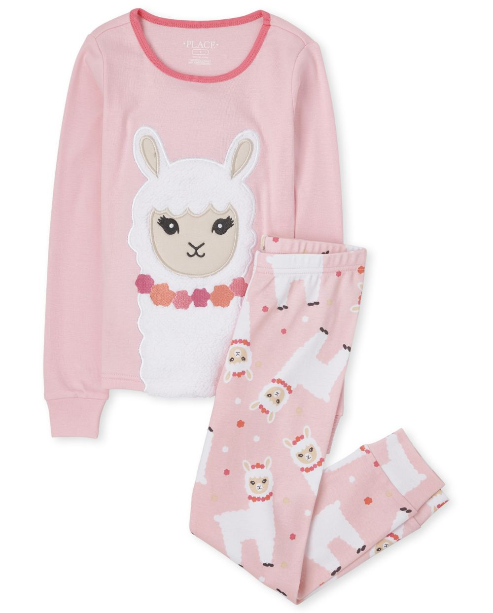 Girls Llama Snug Fit Cotton Pajamas