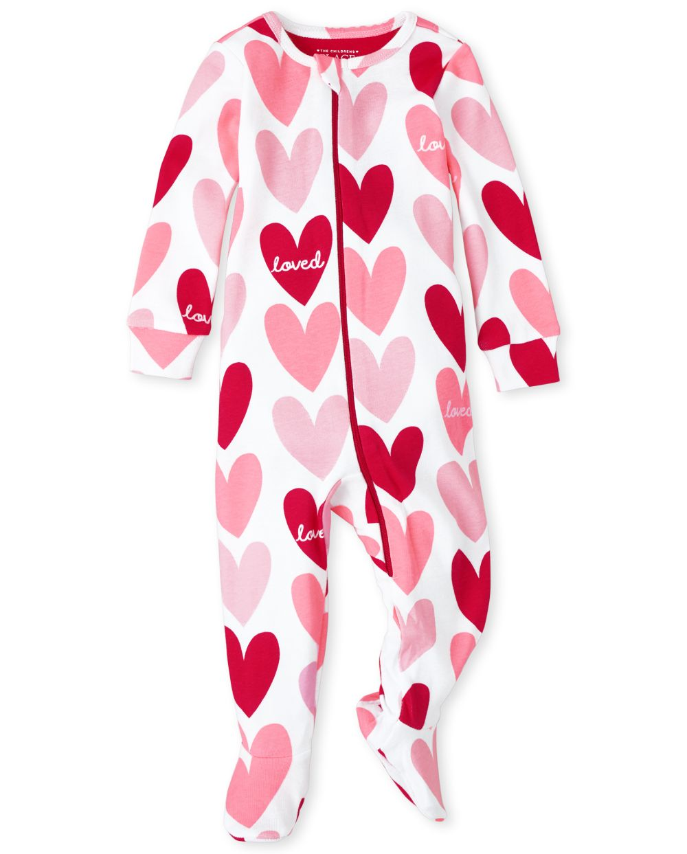 Baby And Toddler Girls Hearts Snug Fit Cotton One Piece Pajamas