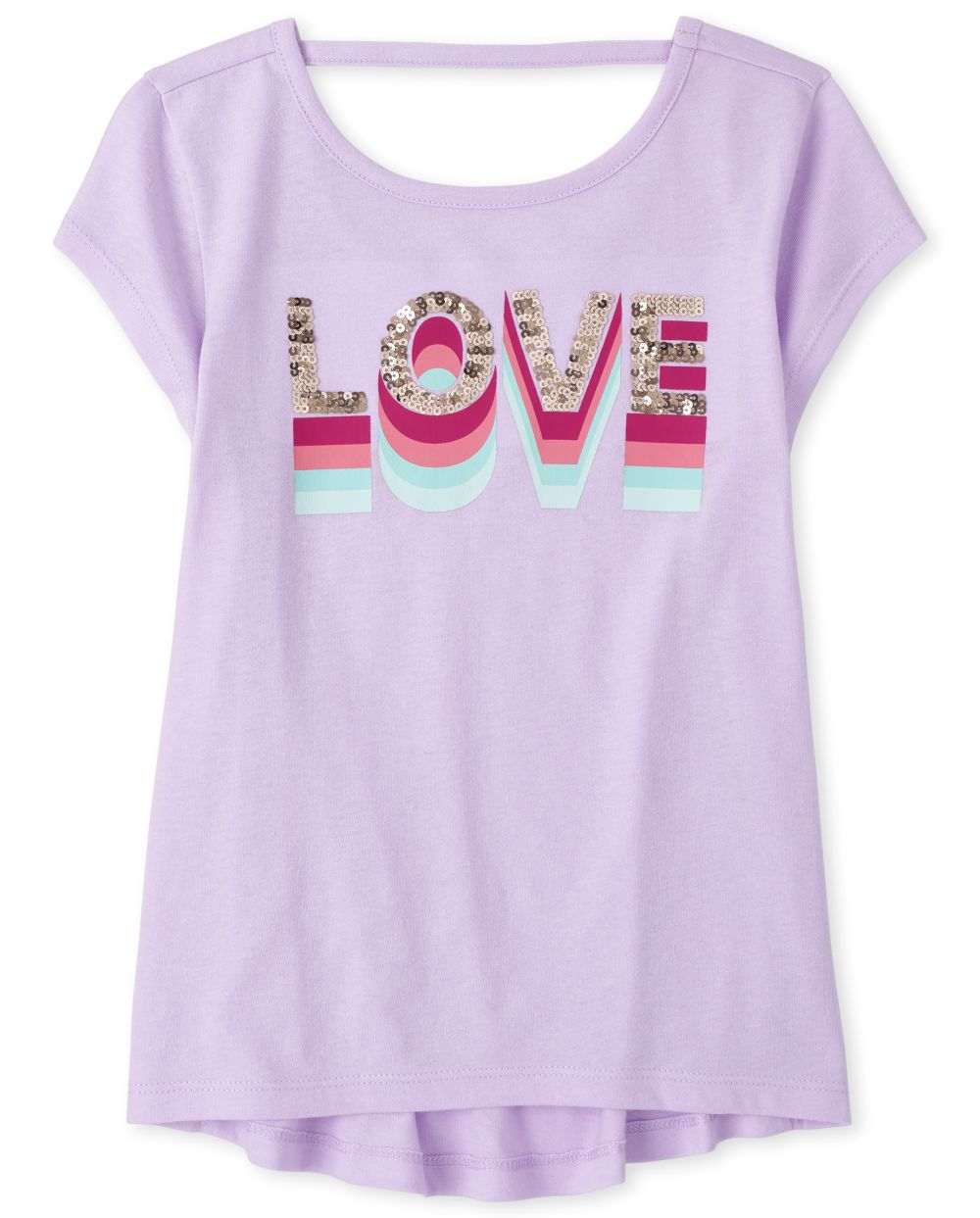 Girls Short Sleeve Sequin 'Love' Cut Out Top