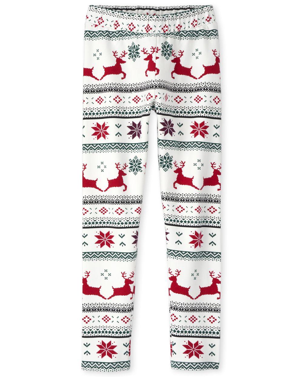 Leggings acogedores con forro polar navideño para niñas