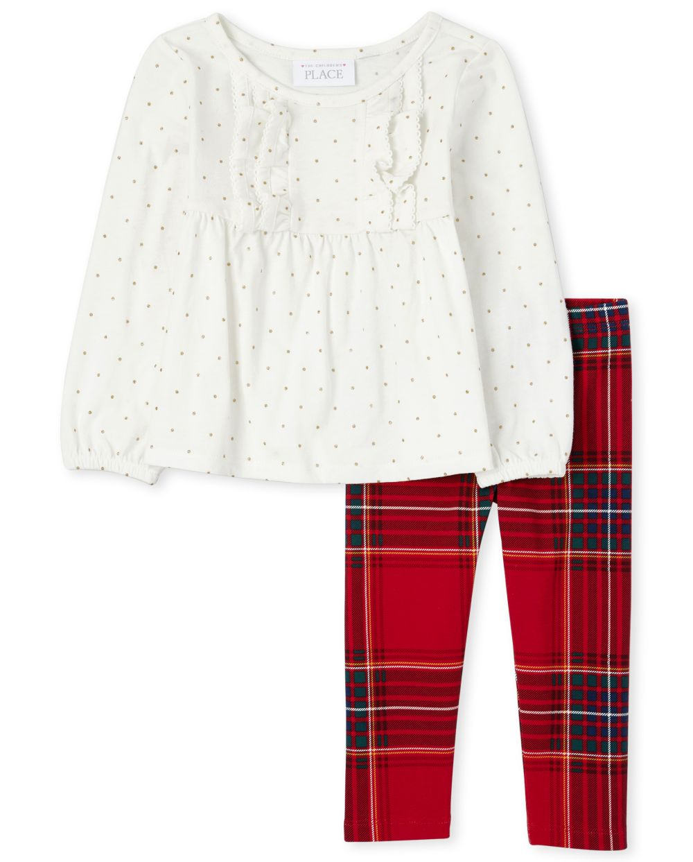 Toddler Girls Ruffle And Plaid Outfit Set