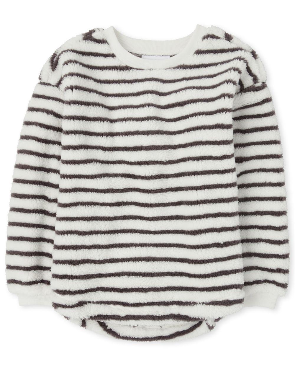 Girls Striped Sherpa Sweatshirt