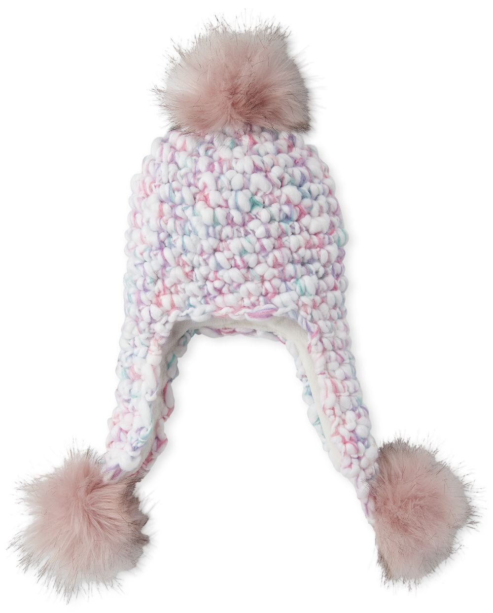 Girls Rainbow Faux Fur Pom Pom Hat