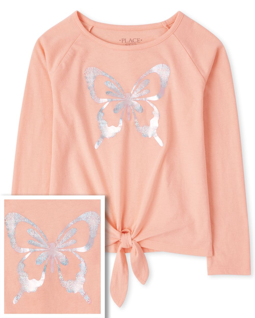 Girls Butterfly Tie Front Top