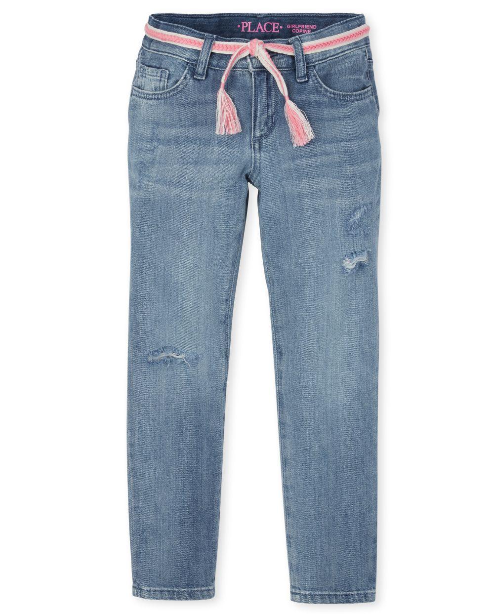 Girls Distressed Denim Girlfriend Jeans
