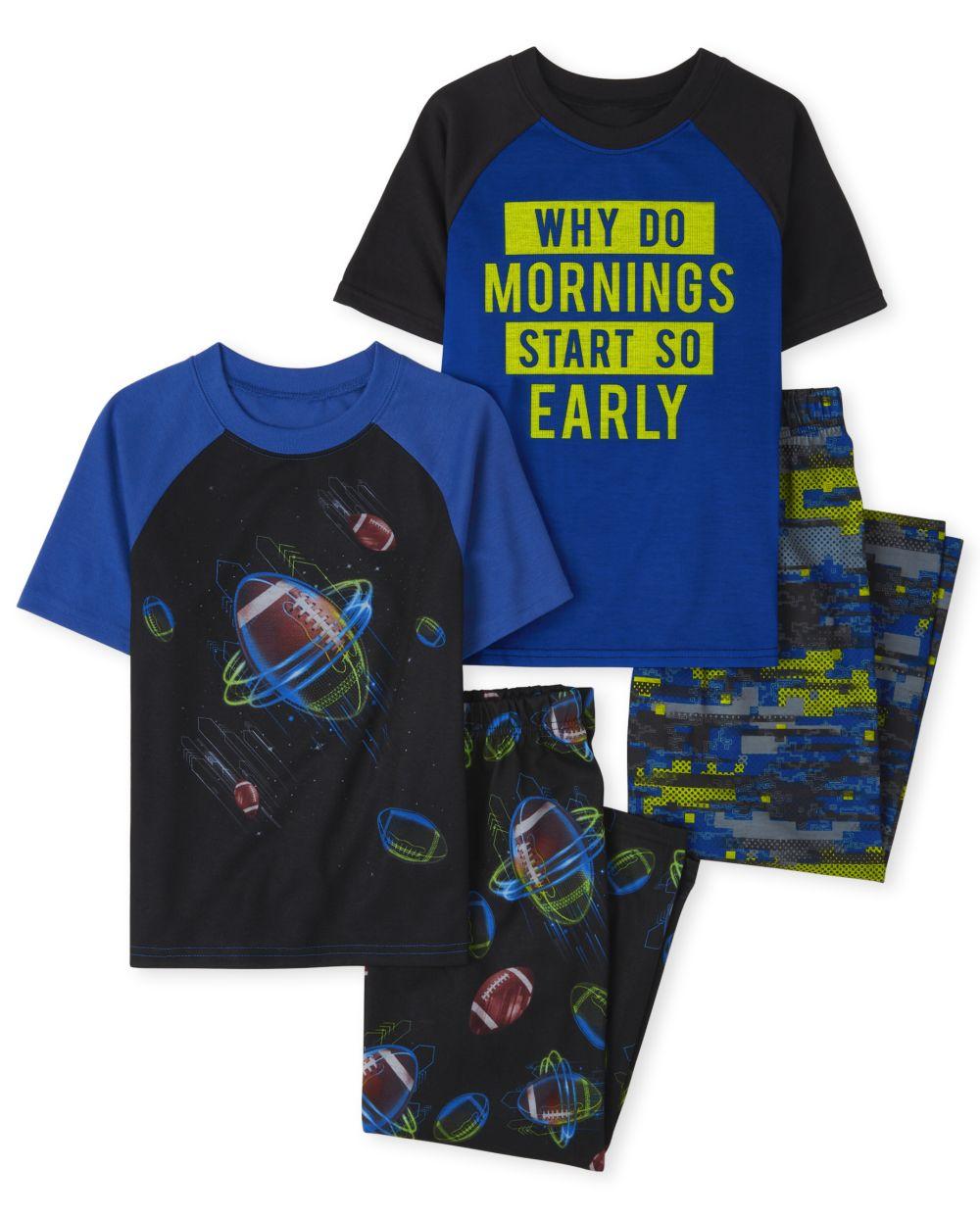 Boys Mornings And Football 4-Piece Pajamas