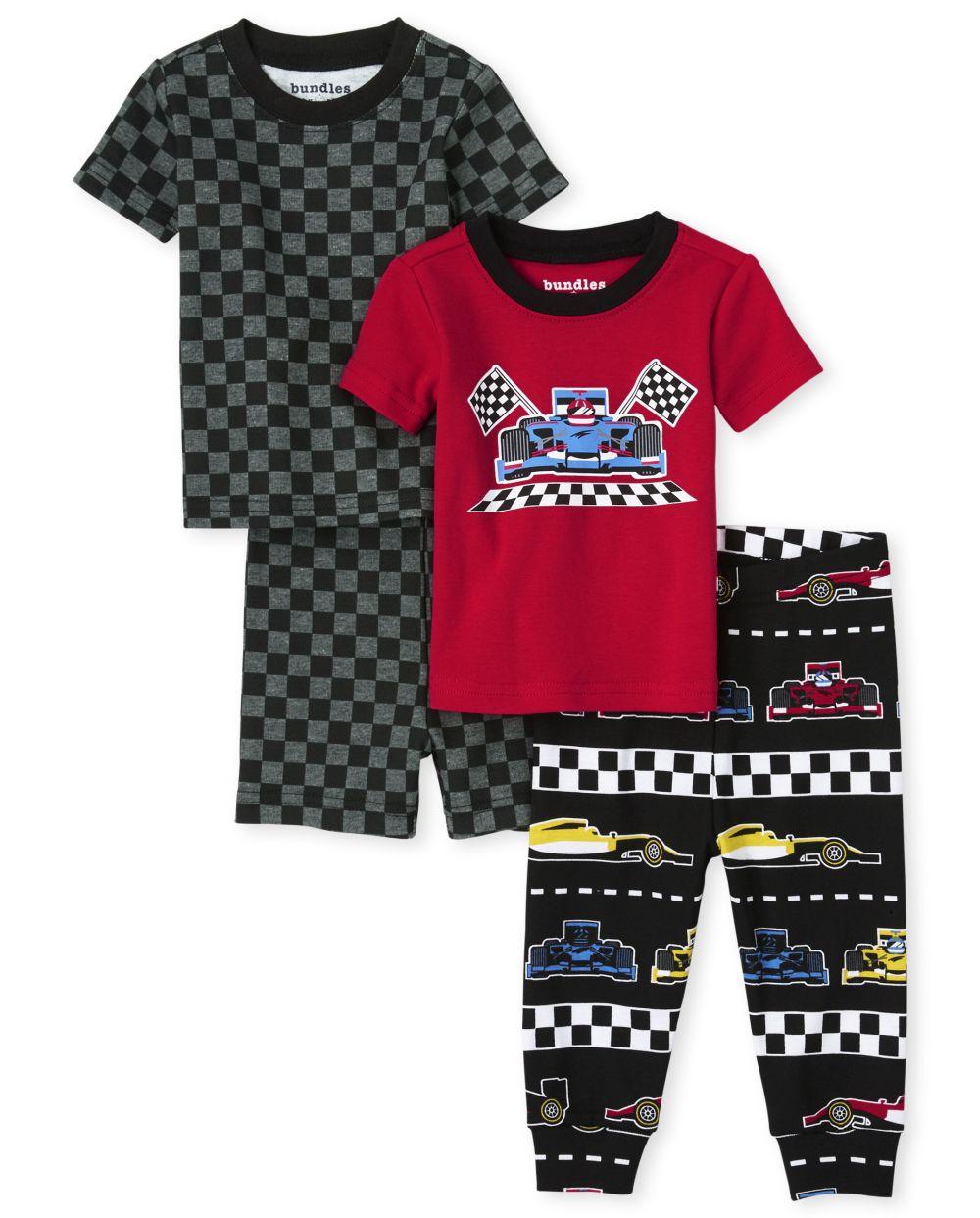 Baby And Toddler Boys Race Car Snug Fit Cotton 4-Piece Pajamas