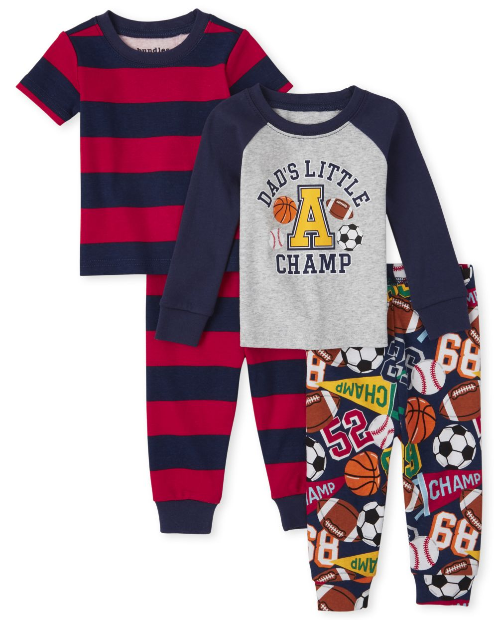 Baby And Toddler Boys Sports Snug Fit Cotton 4-Piece Pajamas