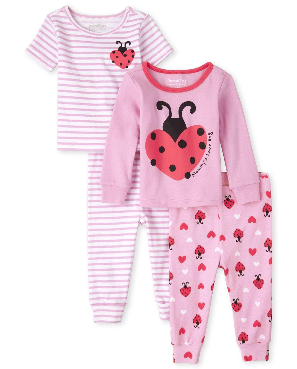 Baby And Toddler Girls Lady Bug Snug Fit Cotton 4-Piece Pajamas