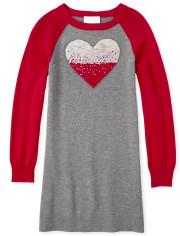 Girls Flip Sequin Heart Sweater Dress