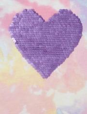 Girls Flip Sequin Heart Tie Dye Top