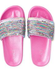 Girls Rainbow Flip Sequin Slides
