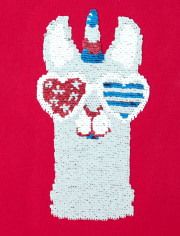 Girls Americana Flip Sequin Llamacorn Top