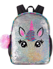 Girls Metallic Flip Sequin Unicorn Backpack