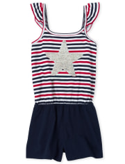 Girls Americana Striped Flip Sequin Star Romper