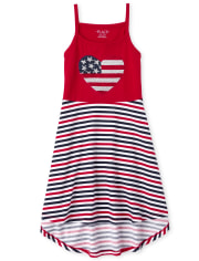 Girls Americana Flip Sequin Flag Striped Tank Dress