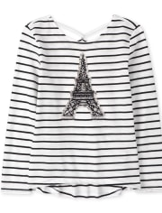Girls Flip Sequin Eiffel Tower Striped Cross Back Top