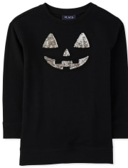 Girls Mommy And Me Halloween Flip Sequin Pumpkin Matching Tunic Sweatshirt