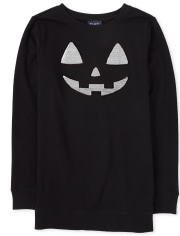 Womens Mommy And Me Halloween Flip Sequin Pumpkin Matching Tunic Sweatshirt