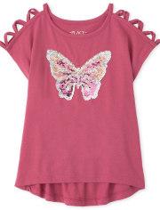 Girls Flip Sequin Butterfly Cut Out Top