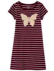Girls Glitter Butterfly Striped Dress