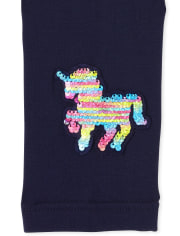 Girls Flip Sequin Unicorn Fleece Lined Leggings