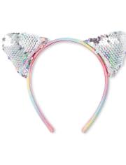 Girls Rainbow Flip Sequin Cat Ears Headband