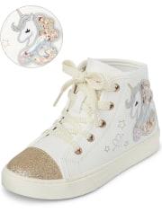 Girls Shakey Unicorn Hi Top Sneakers