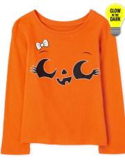 Baby And Toddler Girls Halloween Glow Pumpkin Graphic Tee