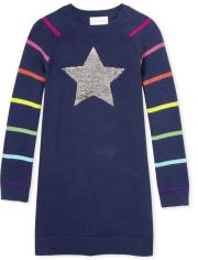 Vestido niña jersey de lentejuelas con arcoíris y estrellas