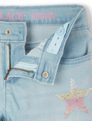 Girls Flip Sequin Star Super Skinny Jeans