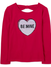 Girls Flip Sequin Be Mine Cut Out Top