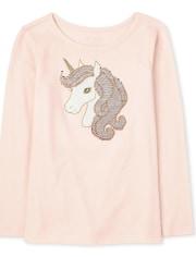Girls Flip Sequin Unicorn Top