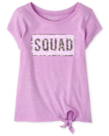 The Childrens Place Girls Sequin Twist Front Top